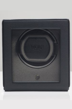 Wolf Cub Watch Winder with Cover in black