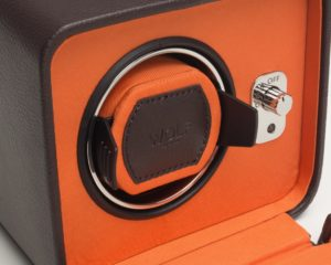 olf Windsor Watch Winder with cover in Brown & Orange