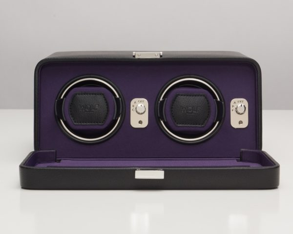 Wolf Windsor Double Watch Winder with cover in Black & Purple