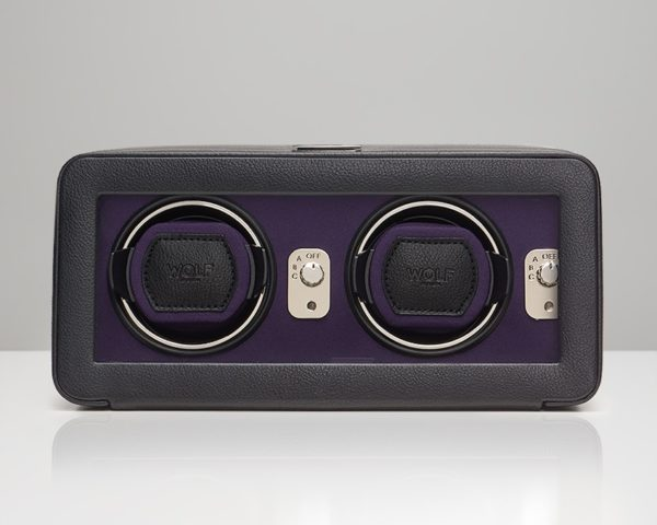 Wolf Windsor Watch Winder with cover in Black & Purple