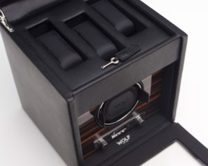 Wolf Roadster Watch Winder with Storage in Black