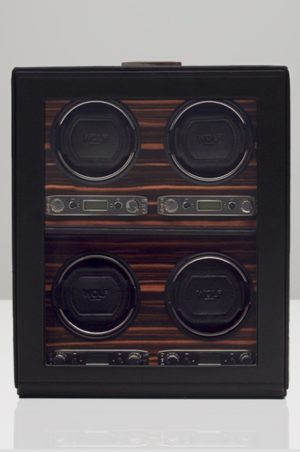 Wolf Roadster 4 Piece Watch Winder with Storage in Black