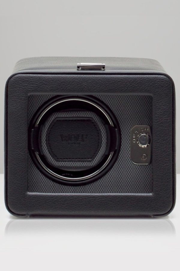 Wolf Windsor Watch Winder with cover in Black