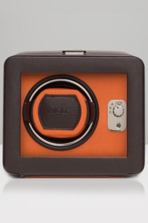 olf Windsor Watch Winder with cover in Brown & Ornage