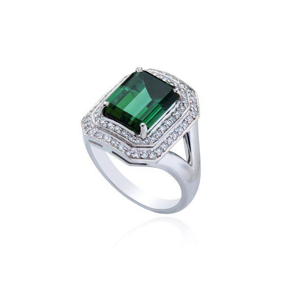 18ct White Gold Tourmaline and Diamond Ring.