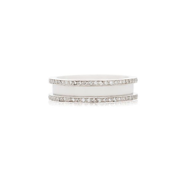 18ct White gold ladies wedding band set with brilliant cut diamonds