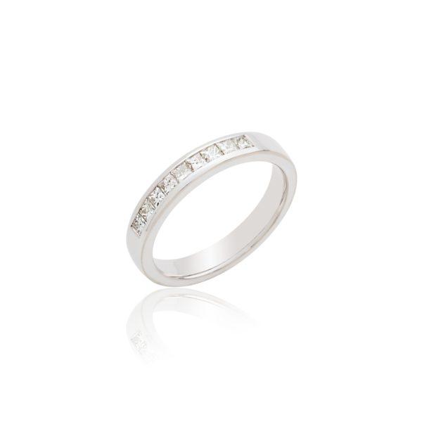 18ct White gold half princess cut diamond set eternity ring