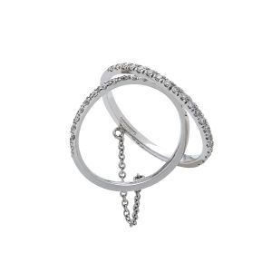 18ct White gold double diamond rings on a chain
