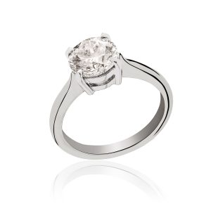 Platinum brilliant cut solitaire diamond ring.