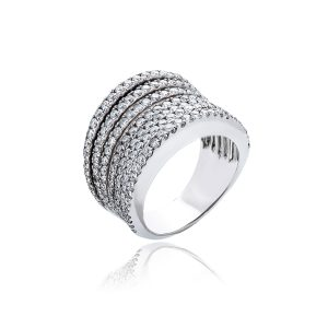 18ct White gold multi band diamond ring