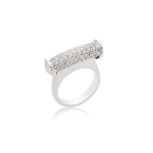 18ct white gold brilliant cut pave set bar cocktail ring