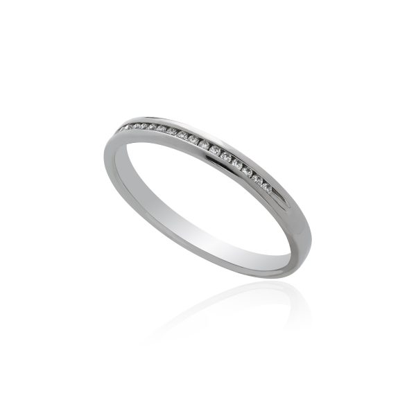 Palladium channel half eternity diamond ring.