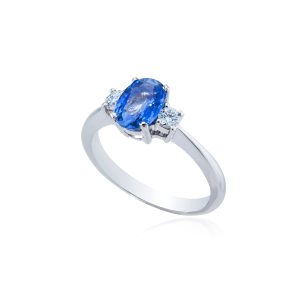 Platinum oval cut sapphire and brilliant cut diamond ring