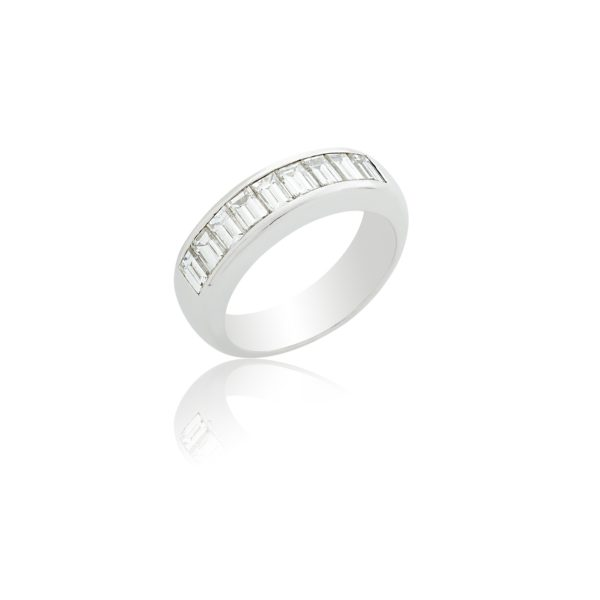 Platinum band with 9 stone baguette cut diamonds