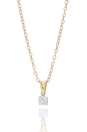 18ct yellow gold brilliant cut diamond pendant