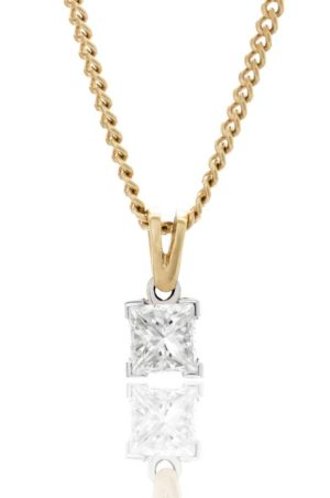 18ct yellow gold single stone princess cut diamond pendant.