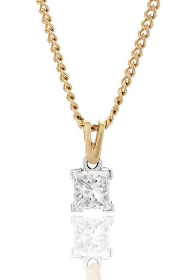 18ct yellow gold single stone princess cut diamond pendant.