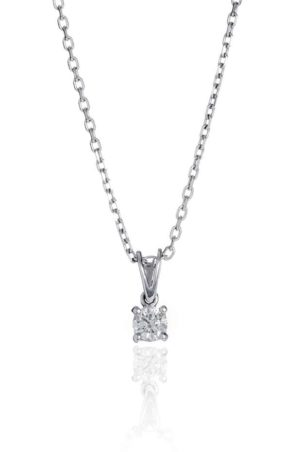 18ct white gold brilliant cut diamond pendant