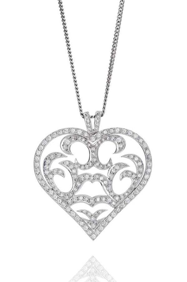 18ct White gold pave set fancy heart shape diamond pendant