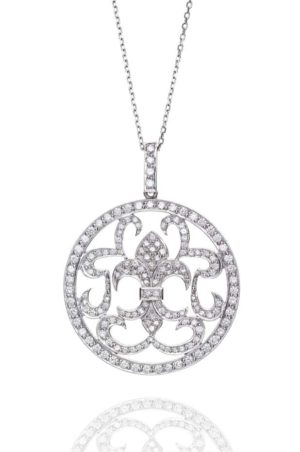 18ct White Gold Fancy Circle Diamond Pendant