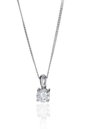 18ct white gold brilliant cut diamond pendant