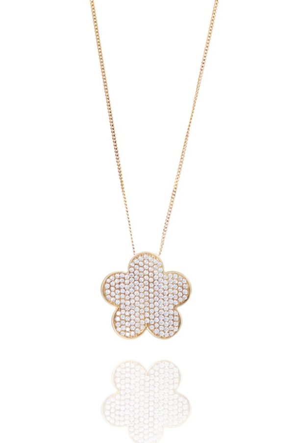 18ct Yellow gold flower pave pendant
