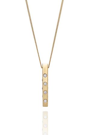 18ct yellow gold diamond block pendant