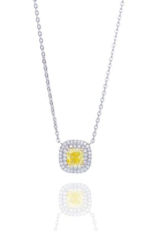 Platinum fanct vivid yellow diamond pendant.