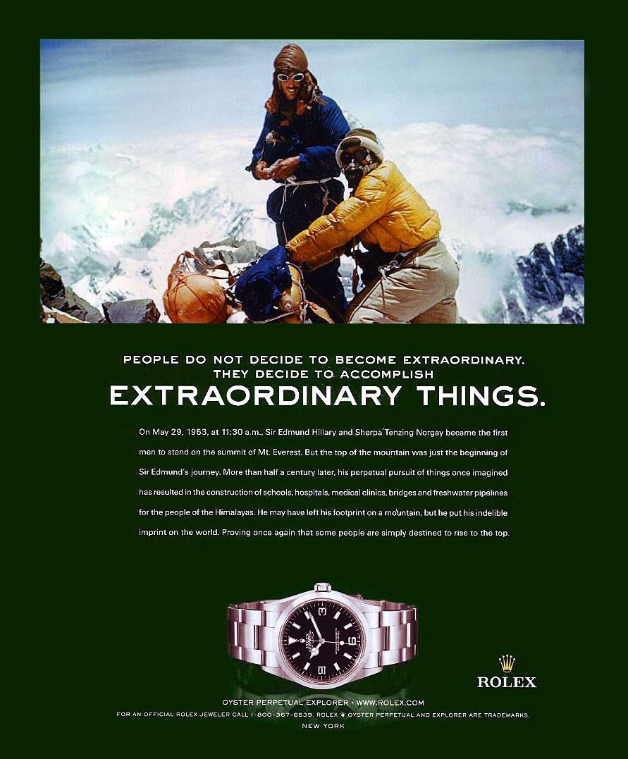 Extraordinary Things, Rolex Explorer Ad.