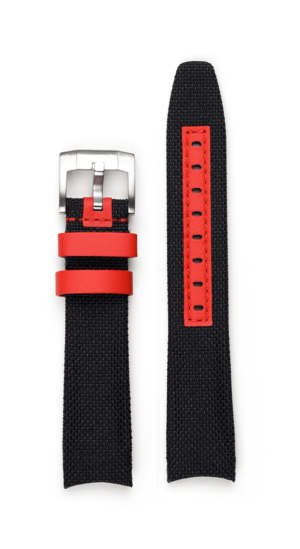 Everest Curved End Nylon Strap - Black with red